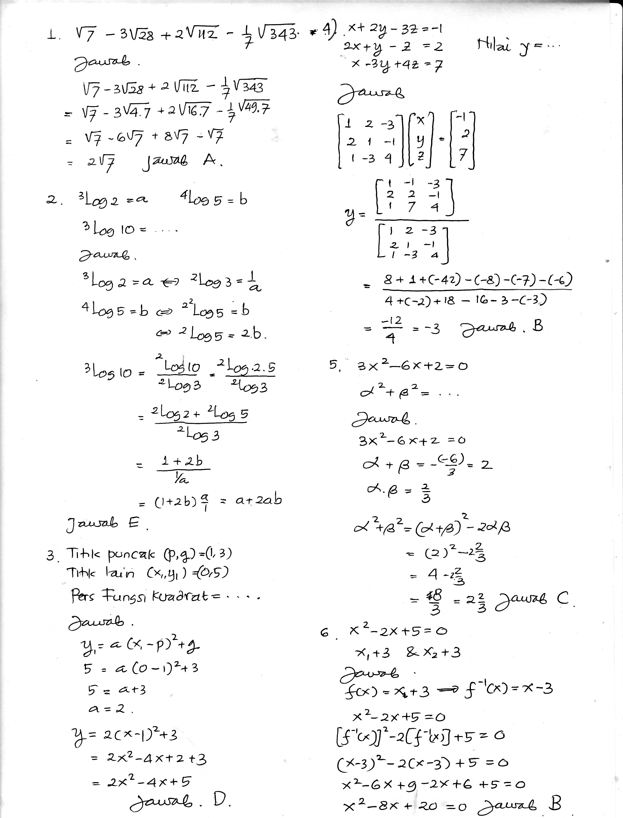 65 Soal Matematika Kelas Vi Sd Soalmatematikacom January 29 2016 Soal Matematika Com Bank
